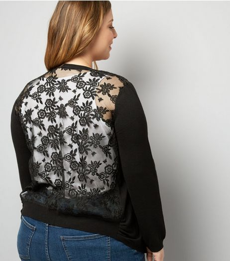 Curves Black Lace Back Cardigan | New Look