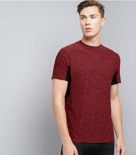 Red Space Dye Sports T-Shirt | New Look