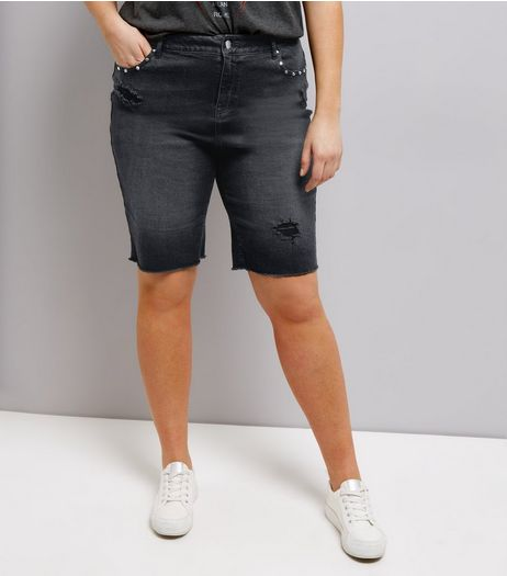 Curves Black Studded Denim Shorts | New Look