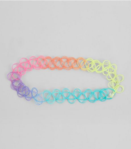 Rainbow Ombre Tattoo Anklet | New Look