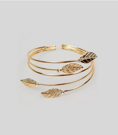 Gold Leaf Detail Arm Cuff | New Look
