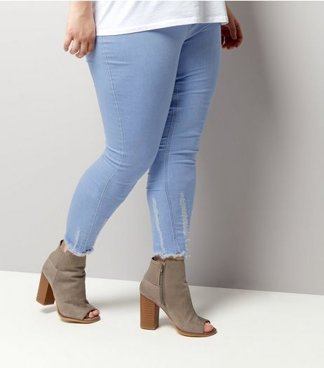 Curves Pale Blue Distressed Hem Jeggings | New Look