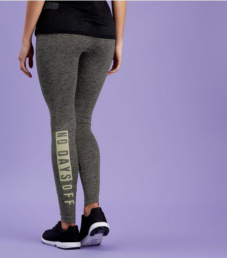 Dark Grey No Days Off Print Sports Leggings  | New Look