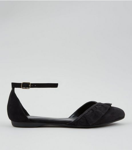 Wide Fit Black Suedette Frill Trim Ankle Strap Flats | New Look