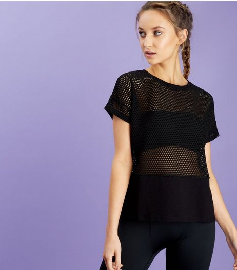 Black Mesh Sports Top  | New Look
