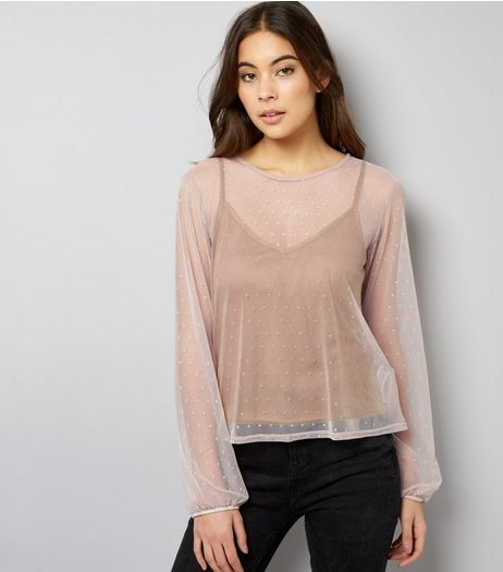 Mink Mesh Long sleeve 2 in 1 Cami Top  | New Look