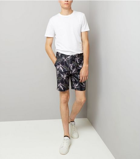 Navy Palm Print Tailored Shorts | New Look