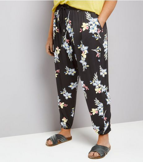 Curves Black Floral Print Jersey Joggers | New Look