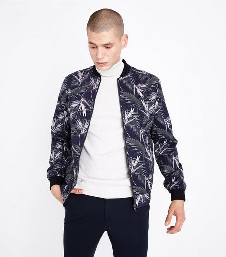 Navy Palm Print Tailored Bomber Jacket | New Look