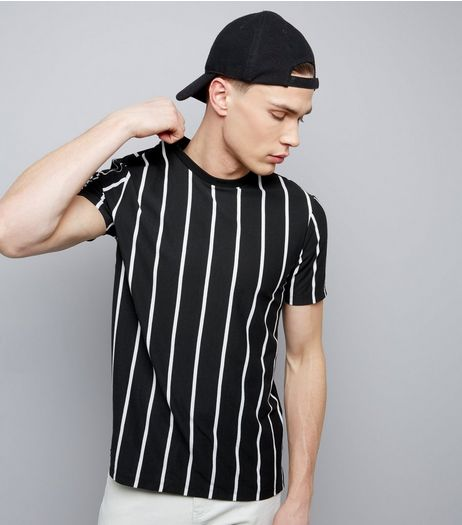 Black Monochrome Stripe T-Shirt  | New Look