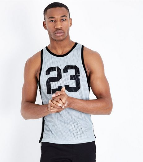 Black 23 Print Mesh Boxing Vest | New Look