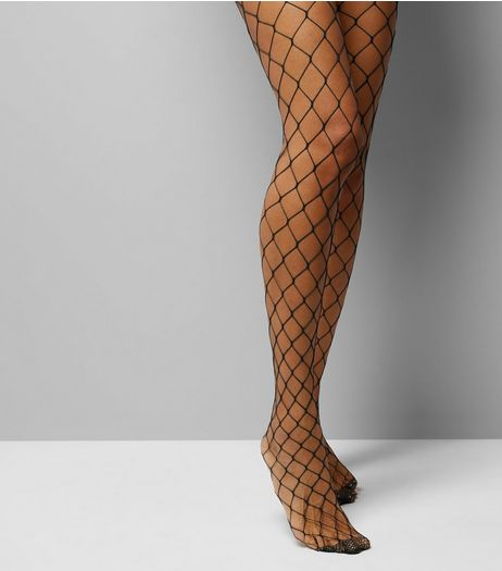 Black Oversized Fishnet Tights | New Look