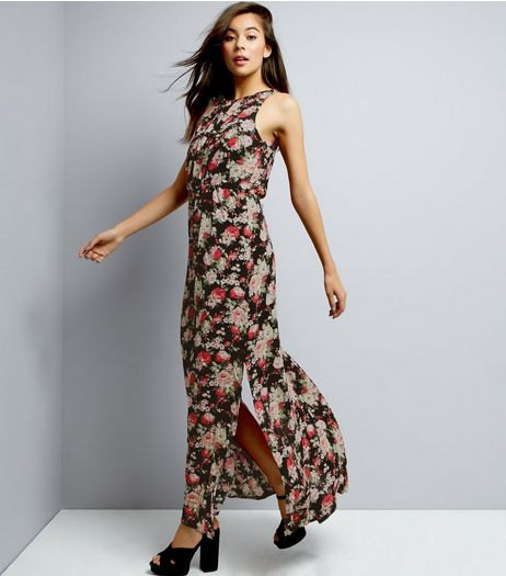 Mela Black Floral Print Maxi Dress | New Look