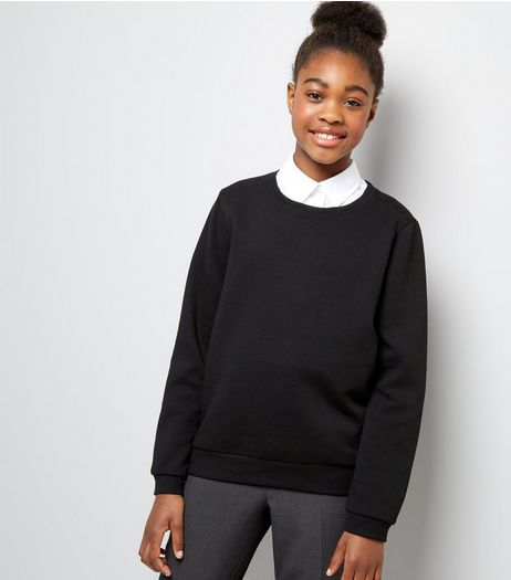 Teens Black Crew Neck Jumper | New Look