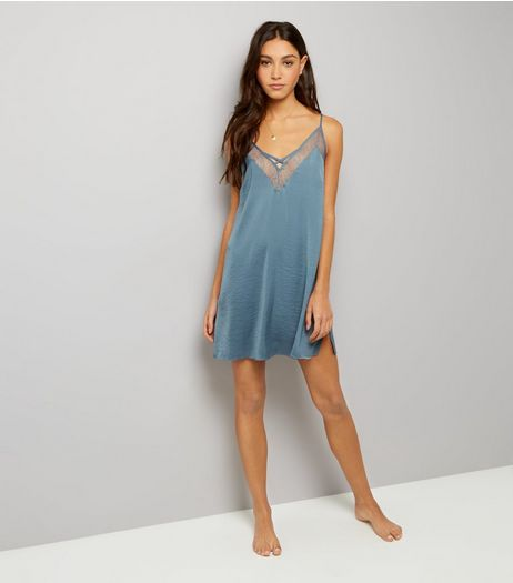 Petrol Blue Satin Lace Trim Chemise | New Look