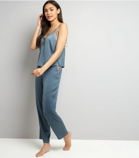 Petrol Blue Satin Lace Trim Pyjama Bottoms | New Look