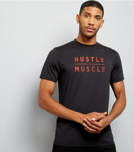 Black Hustle To Muscle Slogan Sports T-Shirt | New Look