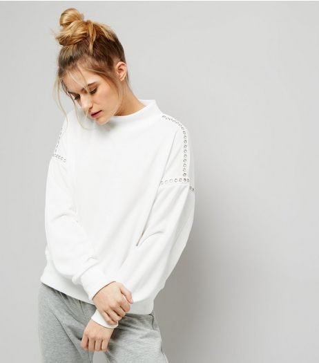 Cream Stud Trim Funnel Neck Sweater  | New Look