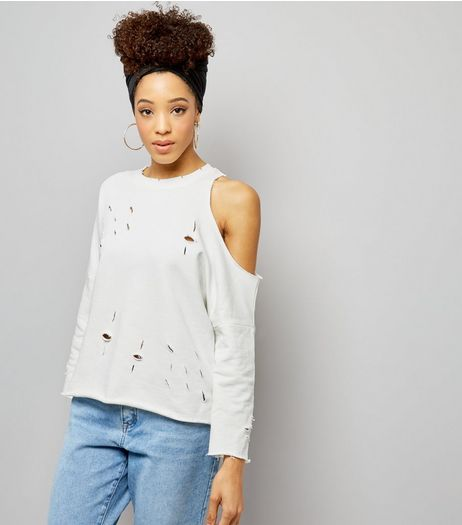 Cream Ripped Asymmetric Cut Out Sleeve Sweater | New Look