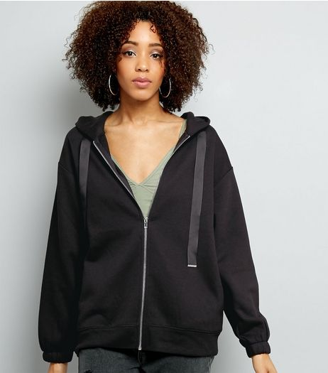 Black Zip Front Oversized Hoodie  | New Look