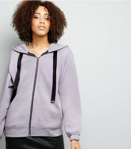 Lilac Zip Front Oversized Hoodie  | New Look
