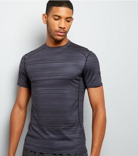 Black Space Dye Sports T-Shirt | New Look