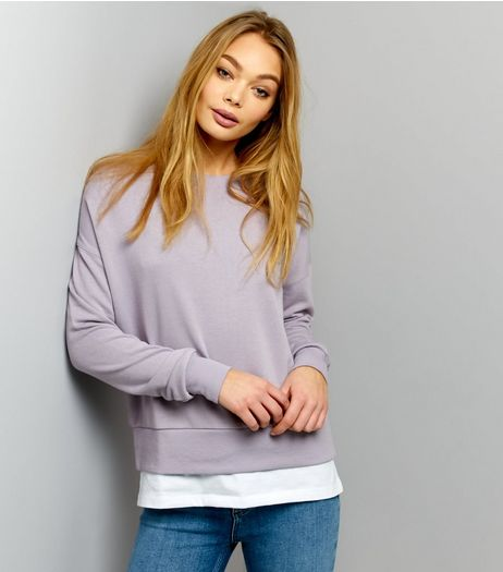 Lilac Jersey 2 in 1 Long Sleeve Sweater  | New Look