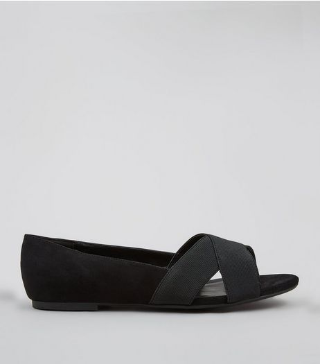 Wide Fit Black Elasticated Cross Strap Pumps | New Look