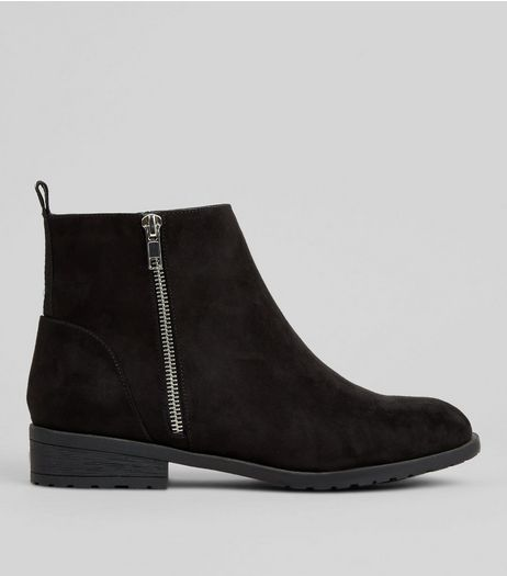 Wide Fit Black Suedette Striped Trim Boots | New Look