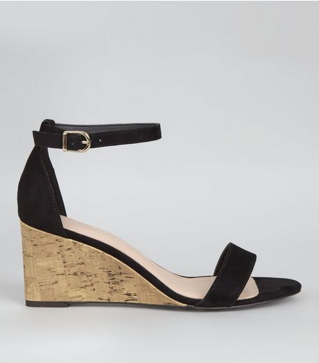 Wide Fit Black Comfort Suedette Wedges  | New Look