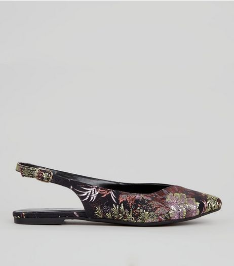 Black Floral Brocade Sling Back Pumps | New Look
