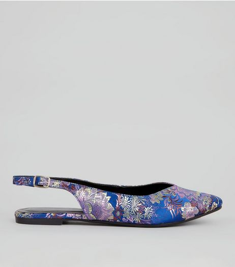 Blue Floral Brocade Sling Back Pumps | New Look