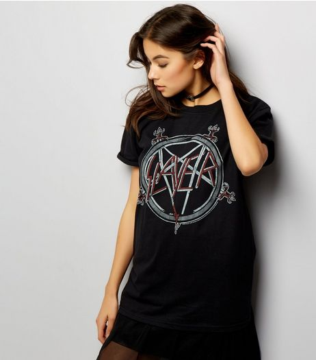 Black Slayer Printed Boyfriend T-Shirt | New Look