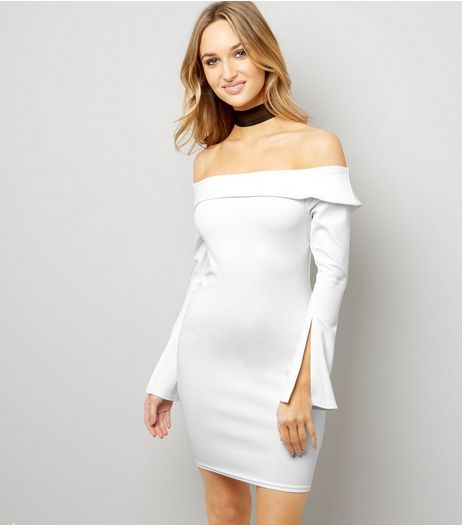 Cream Bardot Neck Split Sleeve Bodycon Dress | New Look