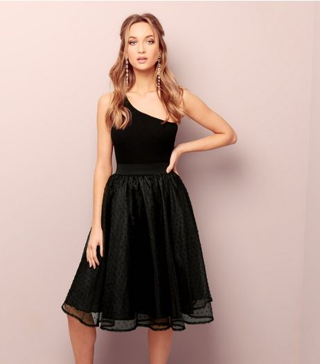 Black Mesh Spot Skater Skirt  | New Look