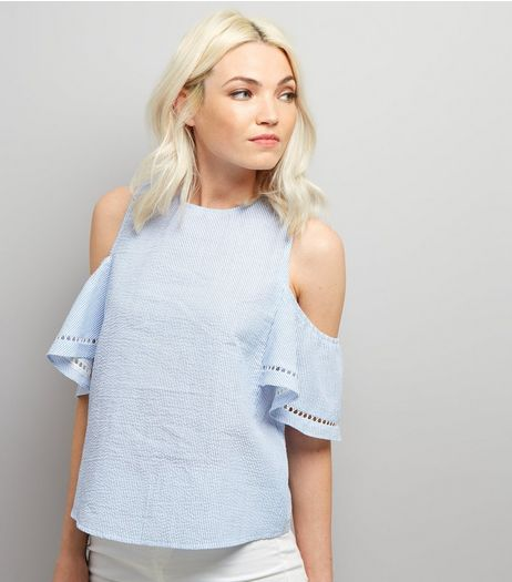 Petite Blue Stripe Cold Shoulder Frill Trim Top | New Look