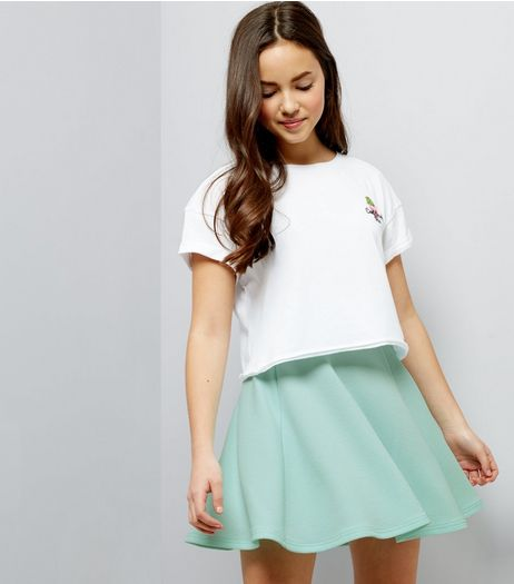 Teens Mint Green Crepe Skater Skirt | New Look
