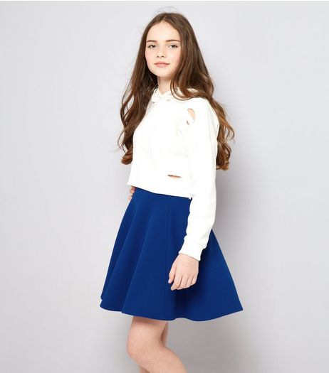 Teens Blue Crepe Skater Skirt | New Look