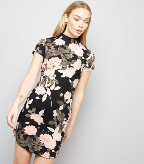 AX Paris Black Funnel Neck Floral Print Bodycon Dress | New Look