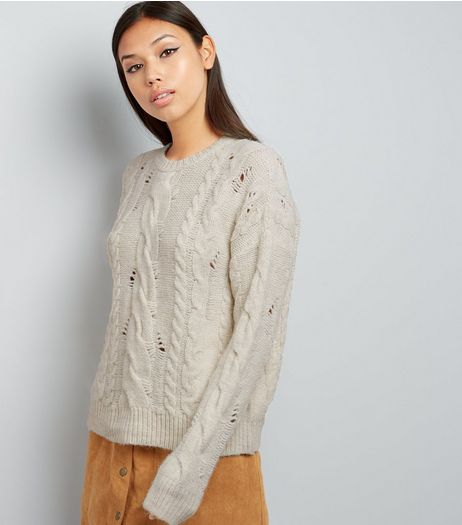 Cream Ladder Ripped Cable Knit Jumper  | New Look