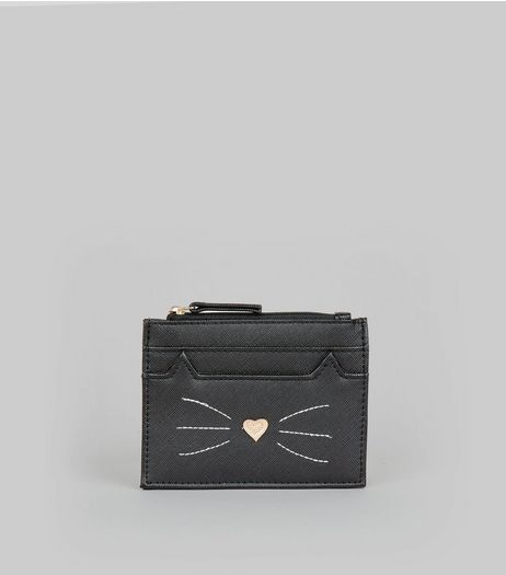 Black Cat Embroidered Cardholder | New Look