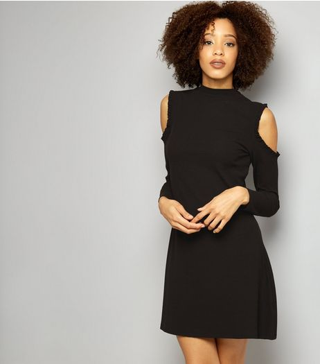Black Funnel Neck Cold Shoulder Swing Dress | New Look