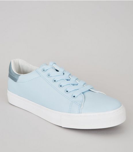 Blue Metallic Trim Trainers | New Look