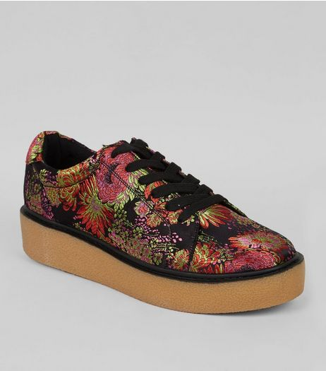 Black Satin Floral Brocade Chunky Sole Trainers | New Look