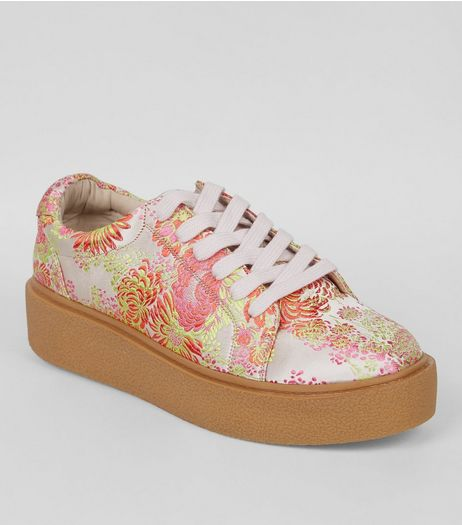 Pink Satin Floral Brocade Chunky Sole Trainers | New Look