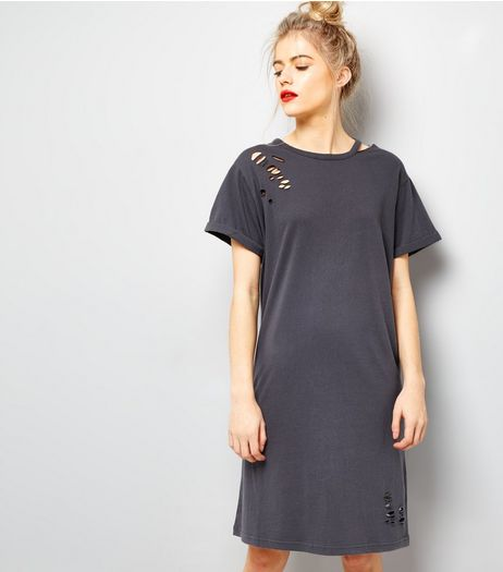 Dark Grey Ripped Cut Out Neck T-Shirt Dress | New Look
