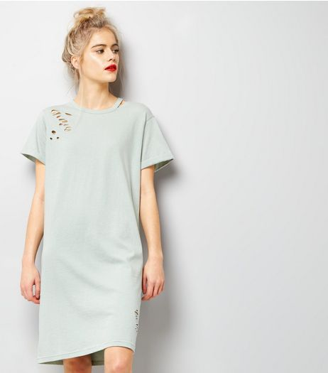 Mint Green Ripped Cut Out Neck T-Shirt Dress | New Look
