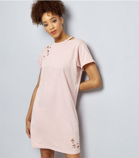 Pink Ripped Cut Out Neck T-Shirt Dress | New Look