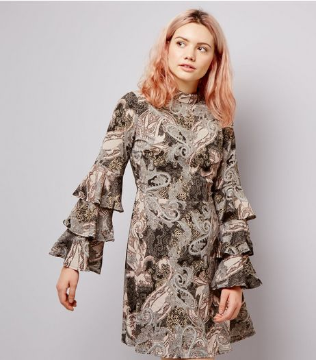 Pink Paisley Print Funnel Neck Frill Sleeve Dress | New Look