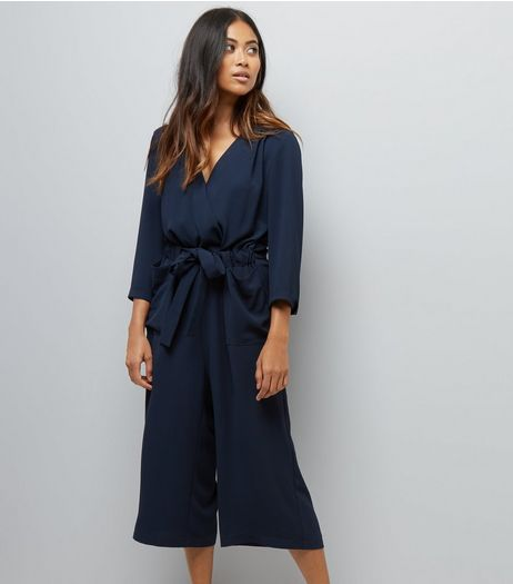 Petite Navy Wrap Front Culotte Jumpsuit | New Look